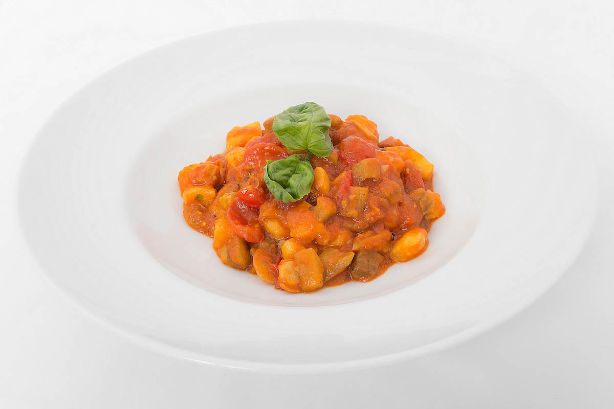 * Potato gnocchi with eggplant, tomatoes and pecorino cheese