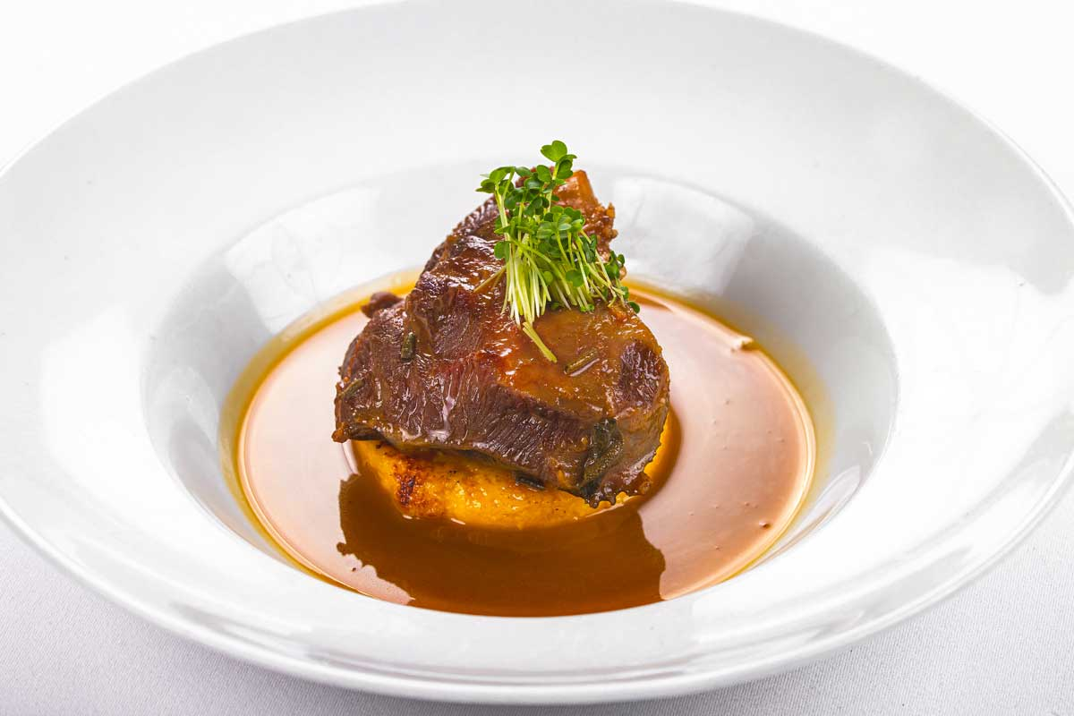 Veal cheek with grilled polenta and port wine sauce
