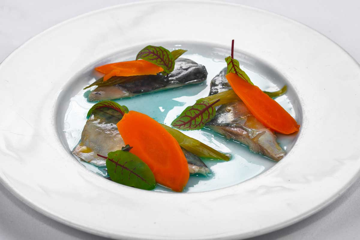 Marinated mackerel fillet with vegetables