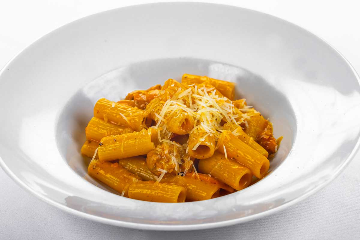 Rigatoni with pumpkin, Italian sausage and pecorino cheese